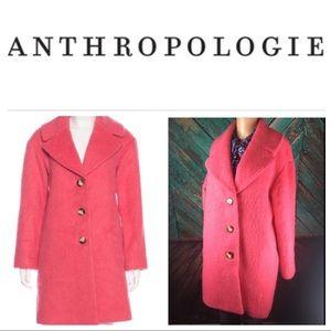 Anthropologie Leifsdottir Pink Mohair Blend Coat